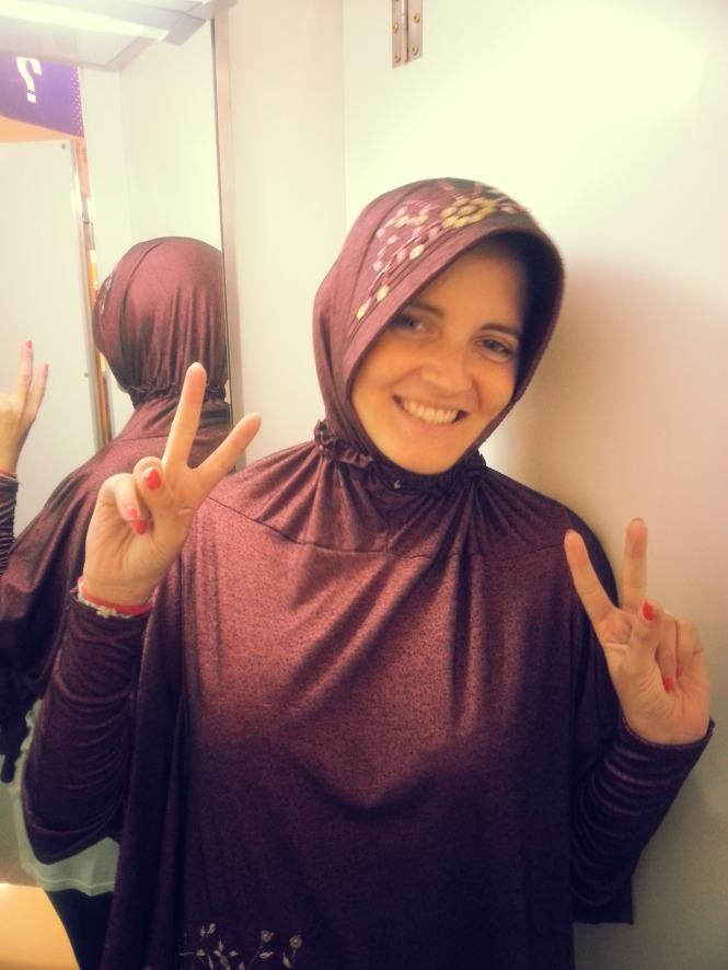 Con el hijab en Yogyakarta. Indonesia.
